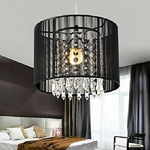 fabulous drum pendant light fixtures living room | Round Black Sheer Drum Crystal Chandelier Light Living ...