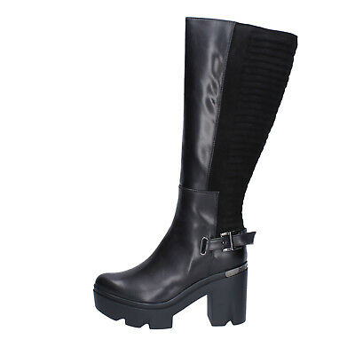 Dettagli su scarpe donna DEL GATTO 36 EU stivali nero camoscio pelle AK938 C