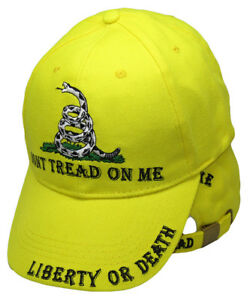 Liberty-or-Death-Gadsden-Don-039-t-Tread-on-Me-Ready-To-Strike-Yellow-Ball-Hat-Cap