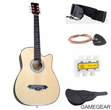 Beige  New Beginners Acoustic Guitar With Guitar Case, Strap, Tuner and Pick