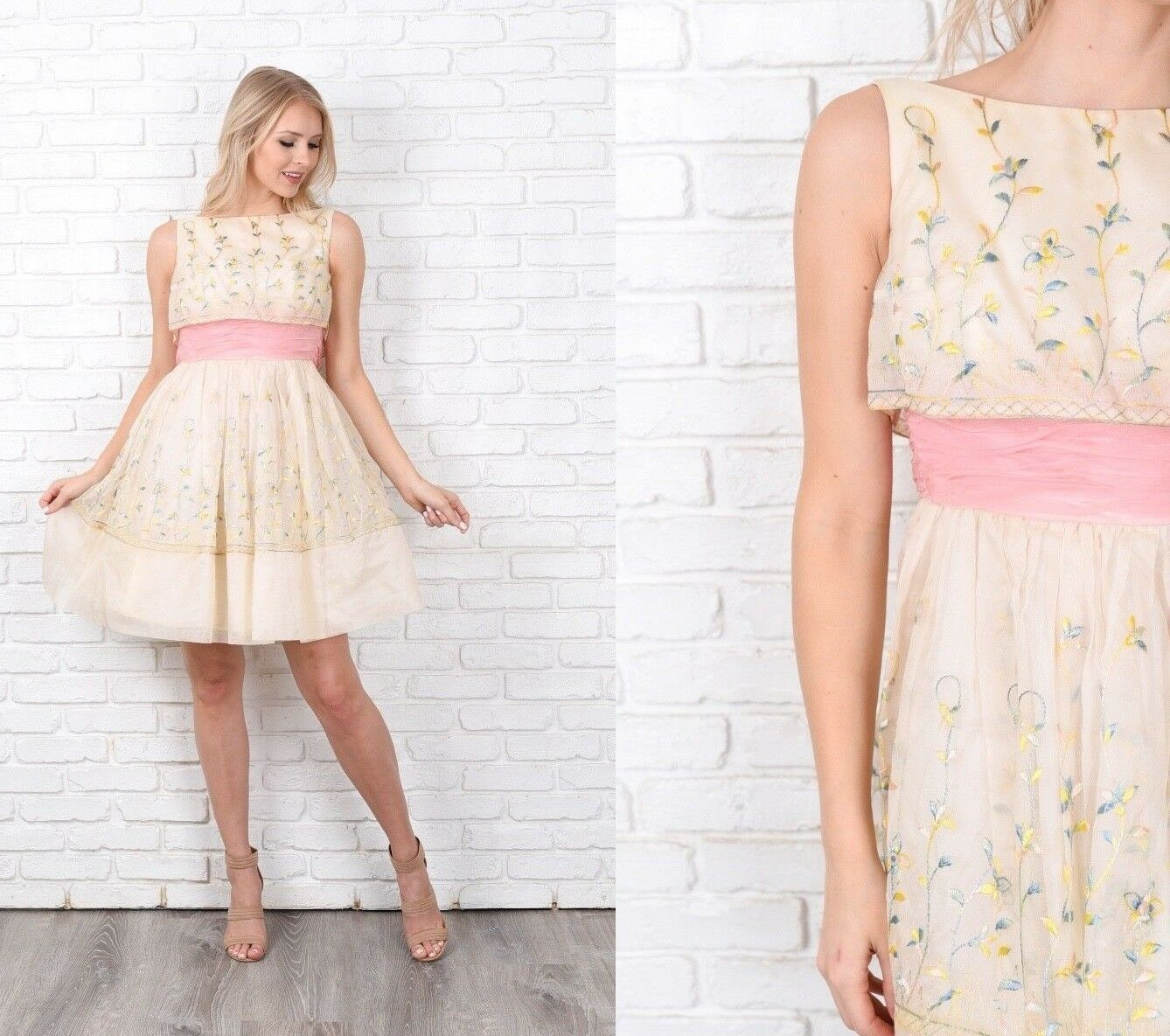 Vintage 60s Cream Dress A Line Party Floral Embroidered Pink Junior XS