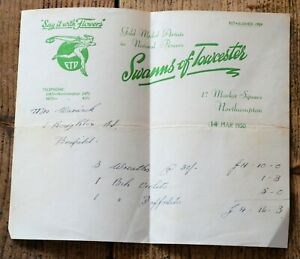 Vintage-1950-Receipt-from-Swanns-of-Towcester-Florists-FTD-Say-It-With-Flowers