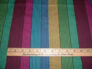 Vtg-Colorful-Seersucker-Pin-Stripes-Teal-Purple-Gold-Sew-Fabric-68x43-ff501