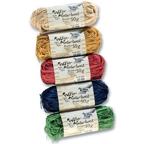 1 Set Folia RAFFIA NATURALE Bast per 50 G 5 Colori Multicolore 5 pezzi