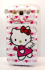 for Samsung Galaxy S3 hello kitty kitten angel w/ hot pink heart case cute//