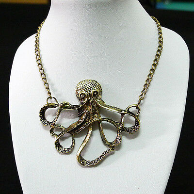 Retro Necklace Vintage Pendant Fashion Jewelry Chain XL0026 Steampunk Octopus