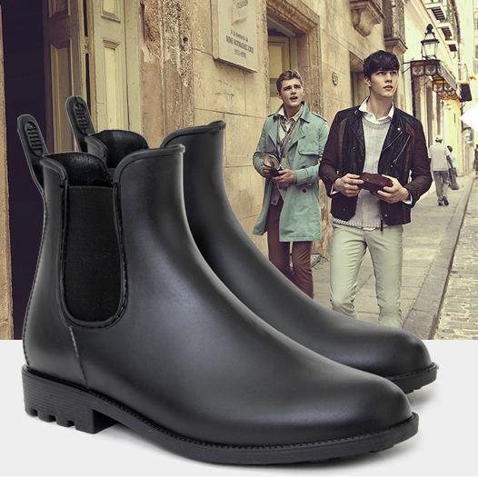New Punk high top Men's antiskid Chelsea boots ankle rain boots waterproof size5