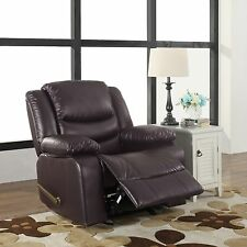 Bonded Leather Brown Single Seat Recliner and Rocking Chair