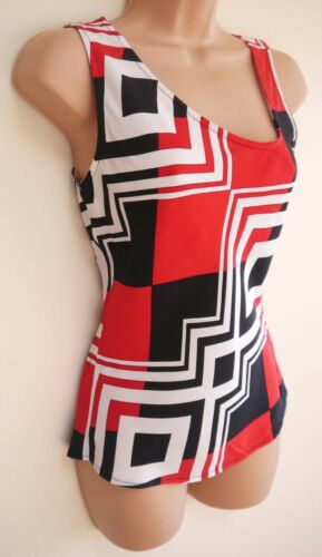Womens Top Size 8 New Ladies Red Black Ivory print Sleeveless Asymmetric L//wt