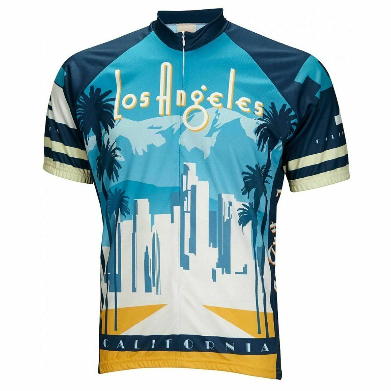 Los Angeles Skyline Short  sleeve 19  zip men's cycling jersey  best prices and freshest styles