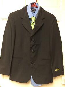 74bec9a4ee21 Boys 14 Greendog Black 3 Button Blazer Jacket , L/S Dress Shirt And ...