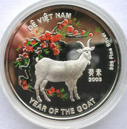 Vietnam 2003 Year of Goat 10000 Dong Silver Coin,Proof