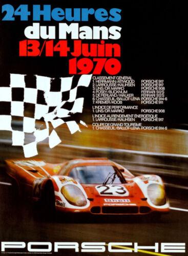 Print on Paper /& Canvas Giclee Poster Porsche 1970 Le Mans France Race
