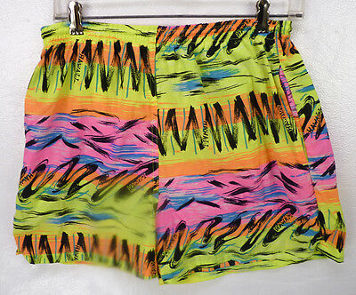 Vintage 80s 90s Sea Waves Neon Hawaii Graphics Mesh Lined Swim Trunks Shorts M