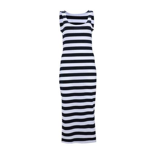 Women Striped Side Split Midi Dress Sleeveless Casual Bodycon Pencil Sundress UK