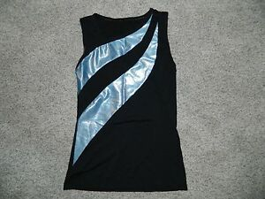 Women's Ice Skating Dance Top Black & Baby Blue Size M