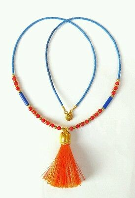 Afghan Natural Lapis Lazuli, Coral, Roman Glass Fabric Tassel Tiny Bead Necklace