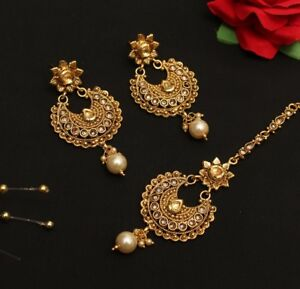 Details About Gold Chand Bali Kundan Polki Bollywood Earrings Tikka Jewelry Set Online