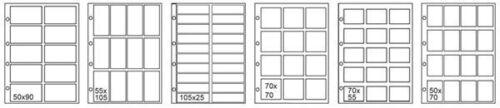 20 FOGLI RACCOGLITORI PER FIGURINE CARD BUSTINE  ZUCCHERO 50 X 70 MM 16 TASCHE