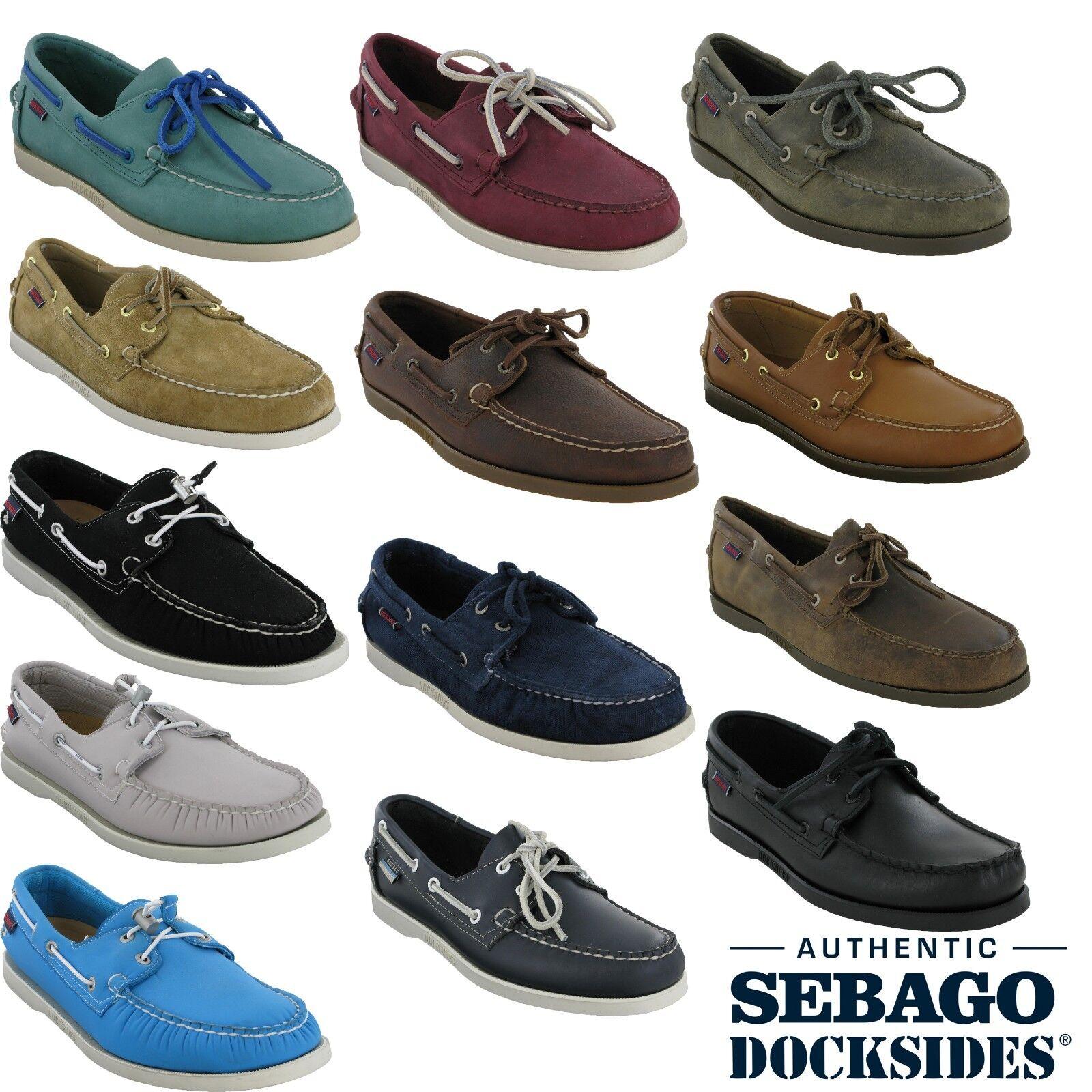Sebago Docksides Nubuck para Hombre de Cuero Inteligente Informal Mocasín Zapatos Encaje ariaprene