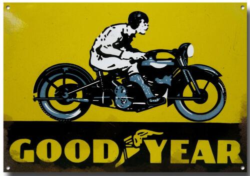 GOODYEAR TYRES MOTORCYCLE METAL SIGN.VINTAGE MOTORCYCLES,GARAGE//WORKSHOP SIGN.