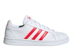 Adidas-GRAND-COURT-BASE-EG4031-Bianco-Rosso-Scarpe-Donna-Sneakers-Sportive