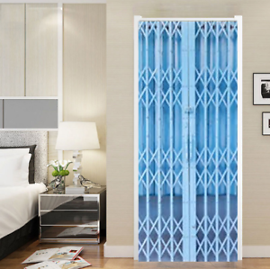 3D Fake Blue Folding Door Self-adhesive Door Sticker Mural Decals For Home Hotel