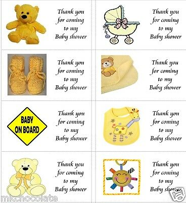 40 x Personalised Baby shower yellow labels/stickers/party/cakes/sweet/bags
