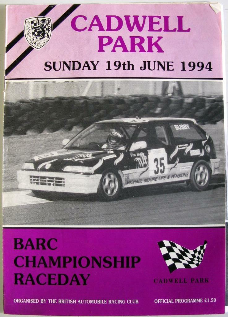 Cadwell Parque 19 de junio 1994 deslizadores Motor Racing Programa Programa Programa Oficial a04f88