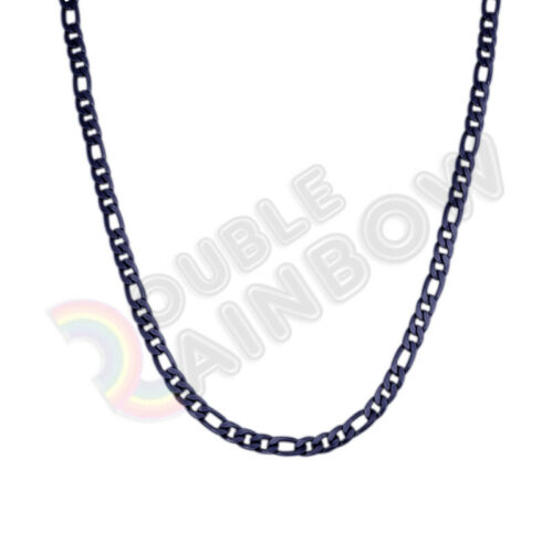 20 inches Men/'s Stainless Steel Black 6mm Figaro Necklace Chain Link*C24