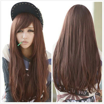 Women Long Straight Wavy Hair Sexy Fancy Brown Oblique Bang Cosplay Full Wig