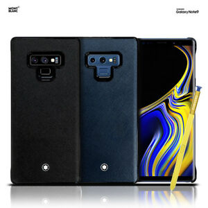 sale retailer 8f5f5 bd5d7 Details about Montblanc Genuine Italian Calf Leather Back Cover Case for  Samsung Galaxy Note 9