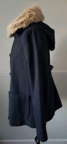 détachables et 12 40 laine avec fourrure Eu Uk capuche noire 119 € Topshop Coût Manteau en mélangée gfSqzFq