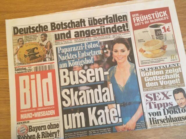 BILD Zeitung 15. September 2012 / 09. / 15.09.2012 / Busen Skandal Kate