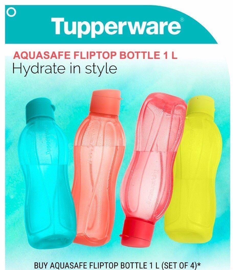 Tupperware FlipTop Water Bottle 1 Litre Aquasafe (Set of 4) Eco Sports Bottle