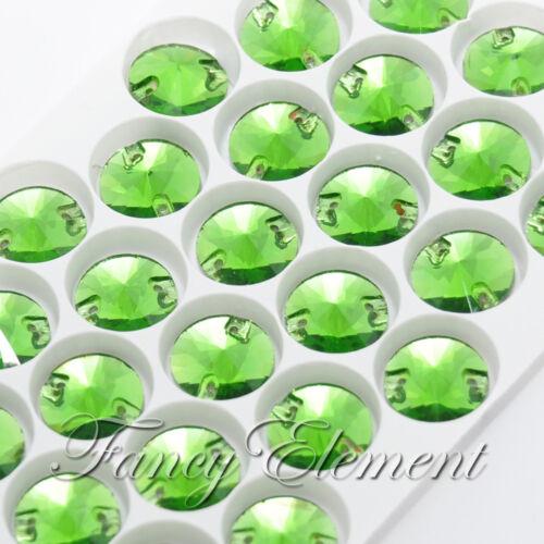32pcs Glass Round 3200 Green Tourmaline 14mm Crystal Foiled Sew On Rhinestones