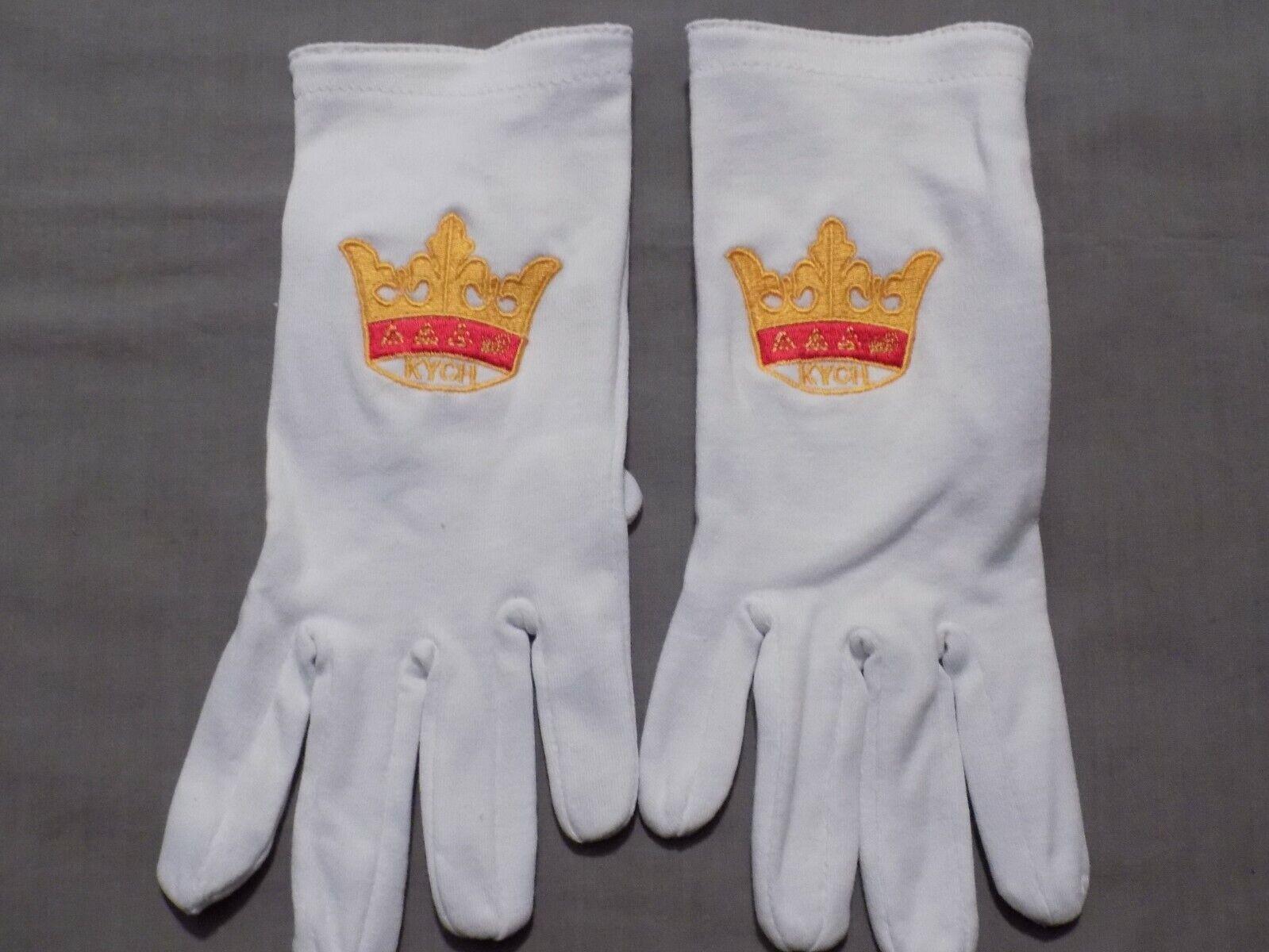 Freemason KYCH York Rites Embroidered White Cotton Gloves Ceremonial Logo NEW!