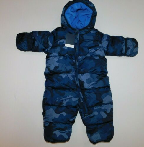 NWT Gap Baby Boy 1 Pc Lined Snowsuit Outerwear Blue Camo 3-6M MSRP$55 Free