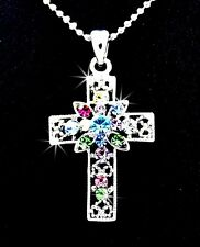 """Stunning Cross Multi Color Austrian Crystal Silver Charm Pendant 17"""" Necklace"""