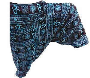 71ee83e39e3 Om Print Blue Men Harem Pants Indian Genie Gypsy Hippie AliBaba ...