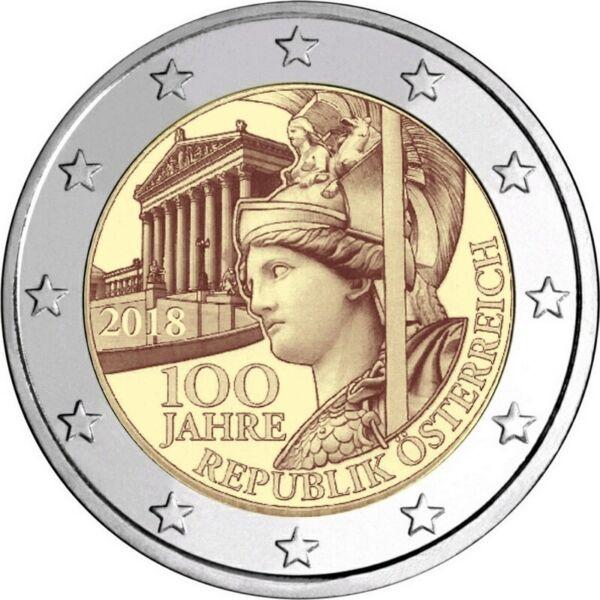 2 Euros Autriche 2018 100e Anniversaire De La République Autrichienne Fabrication Habile