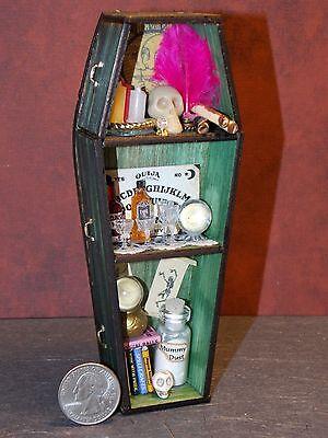 Dollhouse Miniature Halloween Wood Coffin Shelf O 1:12 scale F9A Dollys Gallery