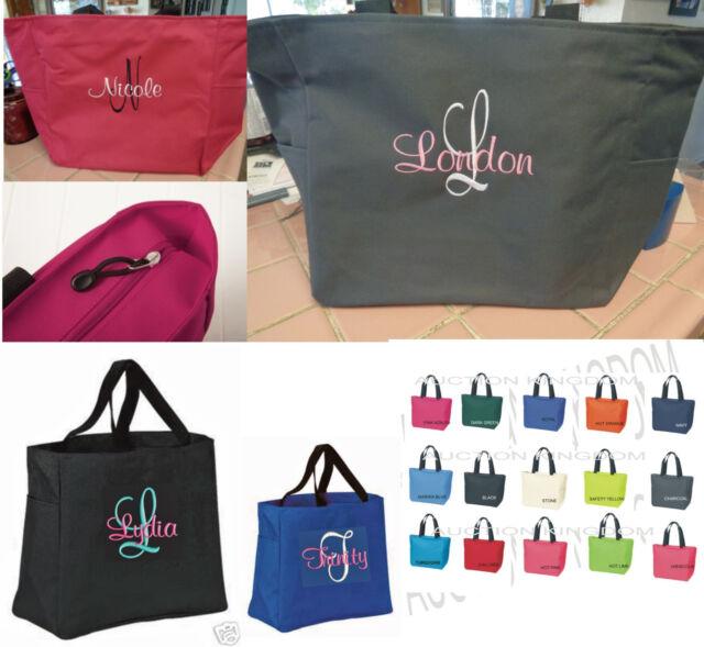 12 Personalize Tote Bag Monogram Bridesmaid Gift Wedding Bridal Shower Cheer Zip