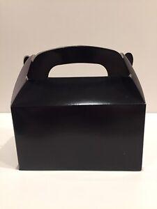 6 BLACK Party Favor Treat Box Goody Swag Bag Birthday Bridal Wedding Baby Shower