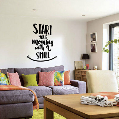 Start Smile Wall Sticker Quotes Wall Art Stickers Bedroom Wall Words Decals Ebay