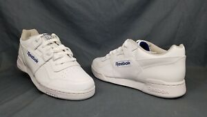 Details about Reebok Men's Workout Plus Fashion Sneakers Leather White Royal Size 9 NEW!