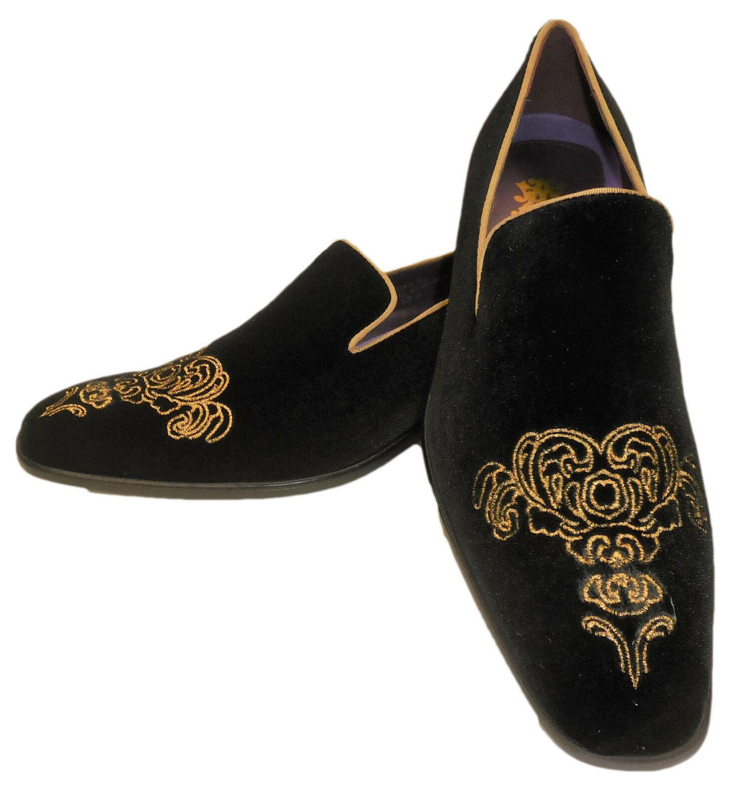 AM 6823 Homme Haute End Velours   Mocassins Chaussures Riche Noir avec Détail Doré