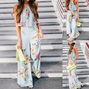 Women-Boho-Sleeveless-Clubwear-Playsuit-Bodycon-Party-Trousers-Floral-Jumpsuit