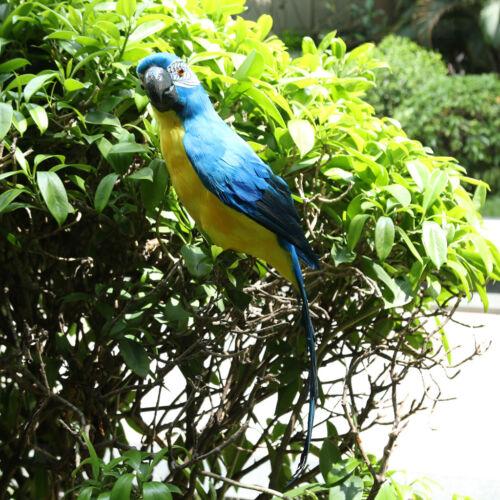 Foam Artificial Feathered Bird Cute Fake Bird Garden Home PARROT STATUE BLUE