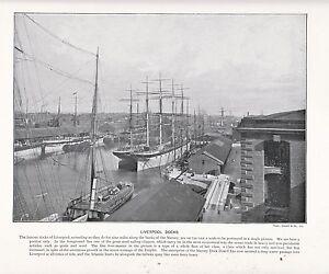 1897 Victoriano Estampado ~ Liverpool Muelles Mersey Port ~ Más Descriptive